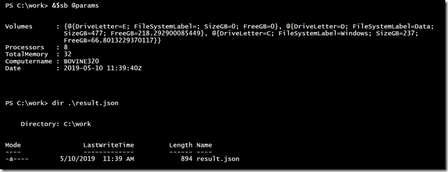 Splatting parameters to the PowerShell scriptblock